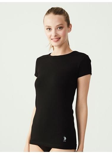 U.S. Polo Assn. Kadın Kısa Kollu Yuvarlak Yaka T-Shirt Siyah
